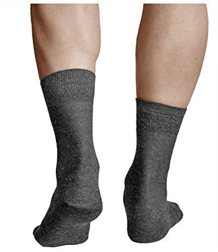 vitsocks Herren Socken Leinen Schwarz und Grau (3 Pack) Atmungsaktiv, gegen Schweißfüße, schwarz, 42-43 -
