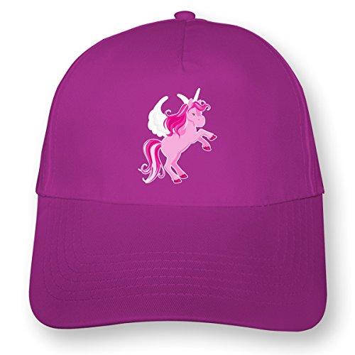 Kinder Kappe Pinkes Einhorn Mütze Cap Kindermütze für Kids Beechfield Junior Original 5 Panel Cap OneSize pink/farbiger Aufdruck