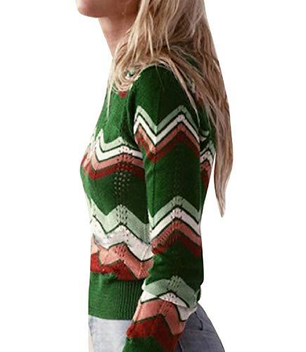 CuteRose Women Cozy Knitting Crew-Neck Vintage Wave Striped Sweater Jumper Green M (Green Wool Crewneck Pullover)