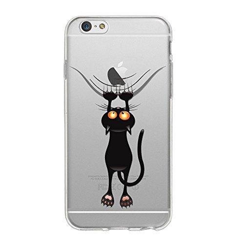 wortek Designer High Quality TPU Silikon - Case Schutzhülle Transparent mit Logo Motiv für Apple iPhone 6 / 6S (Schmetterling 1) Katze 1