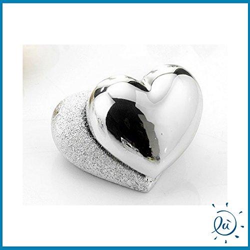 Cuori coppia resina argentata| oggettistica (senza scatola) | bomboniere matrimonio originali moderne e utili sposi e accessori bomboniere economiche fai da te