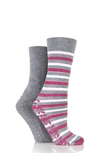 ladies-2-pair-totes-original-twin-pack-stripe-plain-slipper-socks-grey