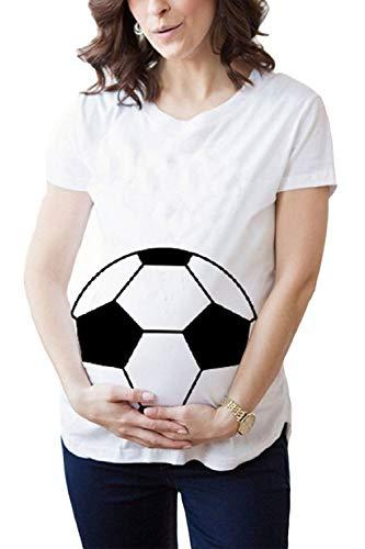 YACUN Mutterschafts T Shirt Damen Komisch Fußball Schwangerschaft Bluse weiße L