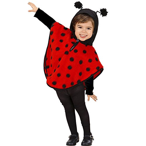 Marienkäfer Kostüm Kinder Marienkäferkostüm 110 cm 3-4 Jahre Glücksbringer Poncho Käfer Kapuzenponcho Tier Kinderkostüm Glück Pünktchen Tierkostüm Kapuzencape Karnevalskostüme ()