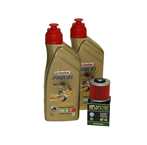 Öl Wechselset 2 Liter Castrol SAE 10W-40 Power 1 4T inkl. Ölfilter Hiflo HF145 z.B. bei Aprilia Pegaso 650, Derbi, MZ/MUZ, Yamaha XT 600