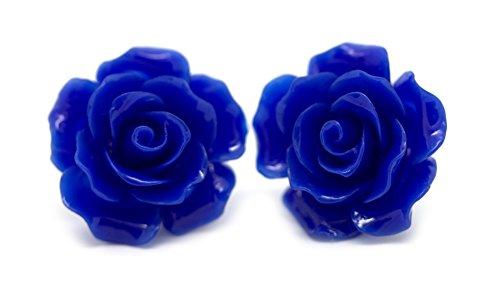 Bluebubble ENGLISH ROSE 22 mm orecchini con rosa blu zaffiro scolpita con scatola regalo