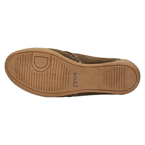 Mesdames dentelle Down to Earth jusqu'en daim en cuir plat Chaussures f8999 Noir - Taupe
