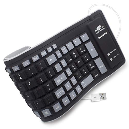 BONUSIS Teclado Plegable Silicona Teclado Flexible