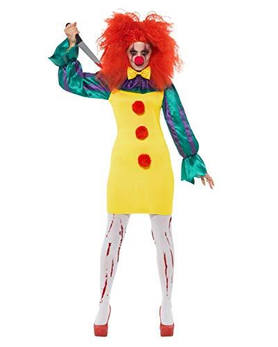 Klassischer Horror-Clown Damen Kostüm für Halloween M
