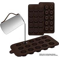 2er Set Silikon-Pralinenformen (rund/eckig) - Silikonform (BPA-frei) für Schokolade