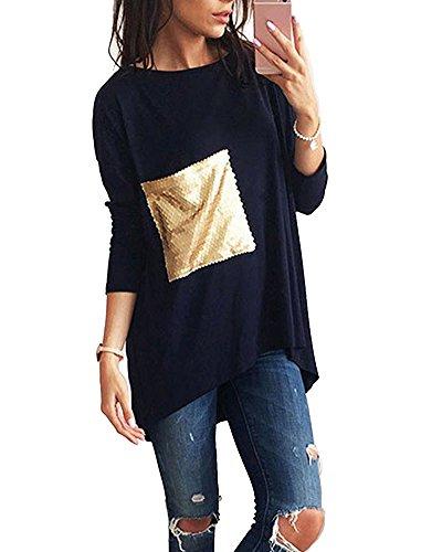 ShiFan Donna Casuale T-Shirt Manica Lunga Rotondo Collo con Paillettes Tasca Camicetta Marina Militare
