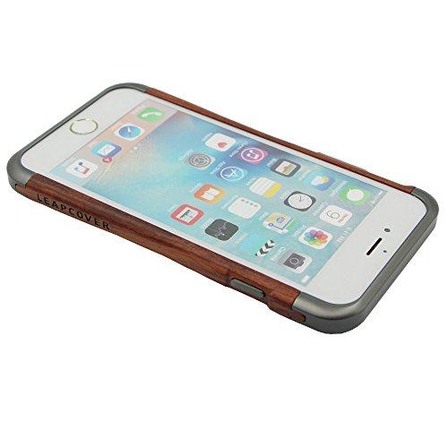 """Coque Bois iPhone 6/Case iPhone 6s en Bois-LEAPCOVER Unique Fabriqué par Bois et Aluminum, Premium Handmade Bois Téléphone Cover Perfect Fit pour iPhone 6, iPhone 6s 4.7 """"(1 Paquet, Bois"""
