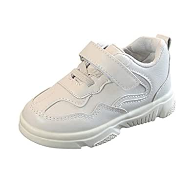 Boomboom Baby'Shoes Toddler Sneakers for Boys and Girls White School Shoes Hook and Loops Sneakers Baby Leathe Sneaker White 23