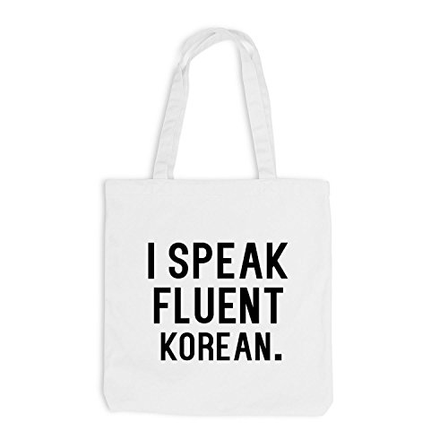 Jutebeutel - I speak fluent Korean - Sprache Koreanisch Weiß