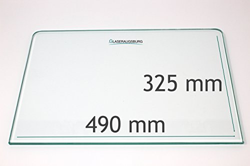 Kühlschrank Einlegeboden/Glasplatte / Gemüsefach – Klarglas 4 mm dick - mit 2 Rundecken - 490 mm x 300 – Direkt vom Glasereifachbetrieb!!!
