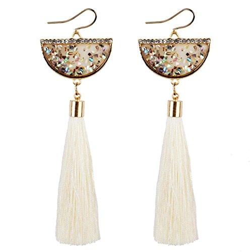 Familie Disco Kostüm - Xmansky Jahrgang Schmuck Damen Bohemien Ohrringe Lange Quaste Franse Baumeln Ohrringe (Weiß)