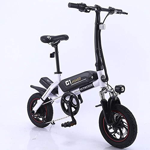 MZLJL montaña de la Bicicleta, la batería de Litio Inteligente C1 eléctrica Plegable Bike12inch Mini E-Bici Bicicleta eléctrica de 36V Super Mini E Bike 30 kilometros máxima del Palo, Blanco, China