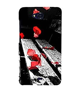 Red Petals on Bench 3D Hard Polycarbonate Designer Back Case Cover for Micromax Bolt Q335