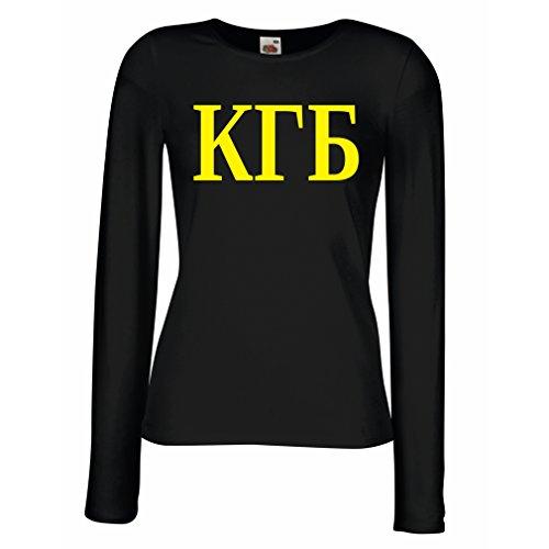 Weibliche langen Ärmeln T-Shirt Politisch - KGB, UdSSR - CCCP, Russisch, Русский Schwarz Gelb
