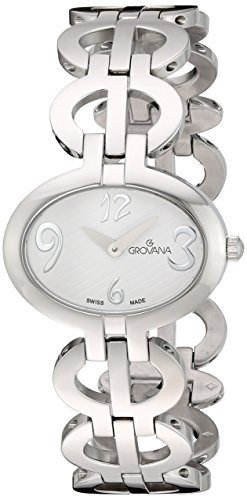 GROVANA 4566.1133 Women's Quartz Swiss Watch with White Dial Analogue Display and Silver Stainless Steel Bracelet