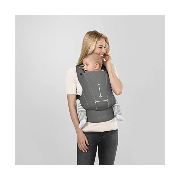 "CYBEX Gold MAIRA.click Ergonomic Baby Carrier, From birth to approx. 2 years (approx. 3.5 - 15 kg), 100% Cotton, Manhattan Grey  Comfortable and versatile adjustable baby carrier: For ergonomic carrying and healthy hip development in babies - Suitable from birth to approx. 2 years (approx. 3.5 - 15 kg), Recommended by the ""International Hip Dysplasia Institute"" Quick and easy putting on/taking off due to practical buckle system, Individually and continuously adjustable, Optimum wearing safety due to safety buckle on the waist belt Width and height-adjustable belt for individual adaptability, Multi-functional head and neck support, Promotes healthy development of the joints through natural squat position 3"