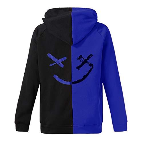 Saingace Herren Kapuzenpullover,Unisex lächelnde Gesichts Mode Druck Hoodie Sweatshirt Pullover Jacke