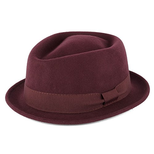 Unisex 100% Wool Superior Handmade in Italy Diamond Crown Pork Pie Hats - Maroon