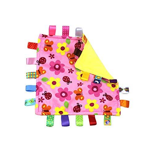 G-Tree bébé douche cadeau fleur rose Tag Consolateur Couvertures de sécurité avec coloré Balises nourrissons en bas âge douce peluche Taggies Blanket Nouveau-né bébé cadeau