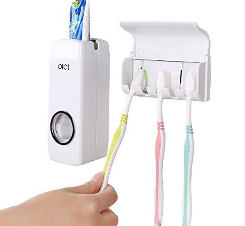Automatische Staubdicht Zahnpasta Spender mit Wand montiert Zahnbürstenhalter Kinder Hände frei Zahnpasta 5Pinseln Set für Reisen Familie Dusche Bad Wohnheim (weiß)