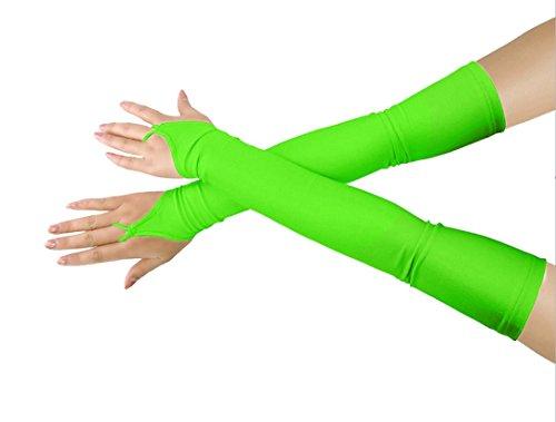 Mädchen 'Boys' Erwachsene Halloween Make-Up Fingerlose Über Elbow Cosplay Kostüm Handschuhe (Fluogreen) (Zug Kostüme)