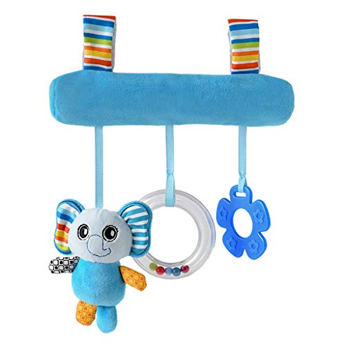 Lomsarsh Baby Cartoon Animal Car Hanging Rattle Bed Bell Ring Bed Hanging Bed Around Baby Carriage Pendant Infant Baby Kids Cartoon Stroller and Bed Spiral Cart Seat Pram Hanging Toys -