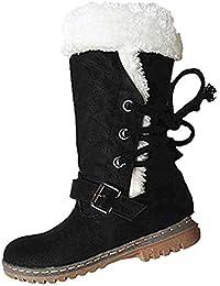 Stivali Alti Donna Invernali Scamosciati Neve Pelliccia Fodera Caldo  Peluche Piatto Lungo con Lacci Snow Boots 1c4cc3b93e7