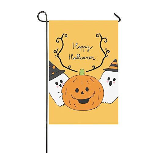 artoon Nette Halloween Geister Kürbis Garten Flaghouse Yard Flaggarden Yard Decorationsseasonal Willkommen Outdoor Flagge 12X18 Zoll ()