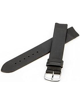 Fluco Lederband | Schwarz | zum befestigen mit Schrauben für Skagen Uhren |20 mm