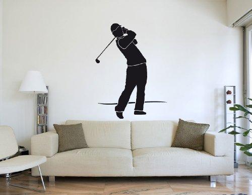 Wandtattoo Golfer Golfspieler beim Abschlag #178C braun 120cm x 159cm (RAL8017) VERSANDKOSTENFREI! -