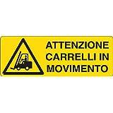 CARTELLO ALLUMINIO 35x12,5cm 'ATTENZIONE CARRELLI IN MOVIMENTO' CARTELLI SEGNALATORI