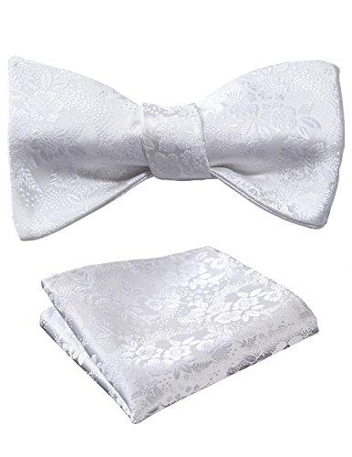 Hisdern Herren Weiß Floral Selbst Fliege Jacquard Taschentuch Hochzeit Party Bowtie & Einstecktuch Set