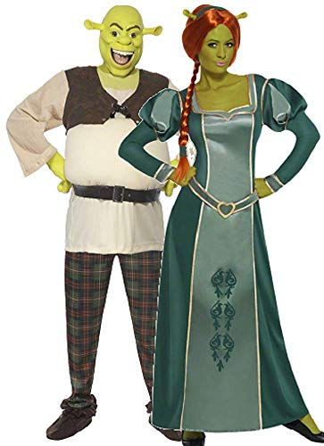 Damen Herren Disney Shrek UND Fiona Paar Kombination Halloween Kostüm Verkleidung Outfit - Mehrfarbig, Large