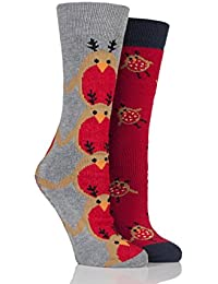 Totes Totes Ladies Twin Pack Original Slipper Soxs - Chaussettes Anti-Dérapantes - Femme