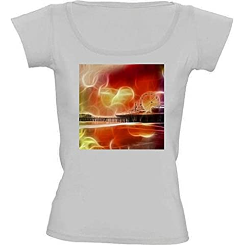 Camiseta Cuello Redondo para Mujer - Abstracta Muelle De Santa Mónica by Christine aka stine1