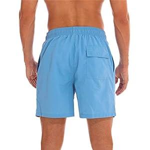 Arcweg Pantaloncini Uomo Ragazzo Calzoncini da Bagno Costumi Mare Surf Boxer 100% Poliestere Asciugatura Rapida Pantaloncini da Spiaggia Piscina Azzurro/Rosso-Coulisse Etichetta XL