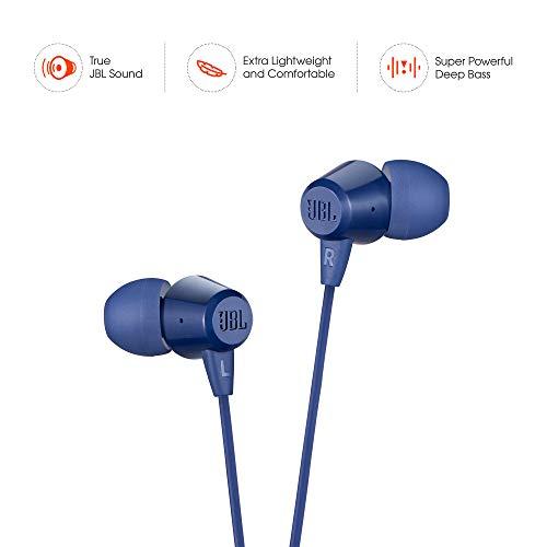JBL C50HI in-Ear Headphones with Mic (Blue) Image 2