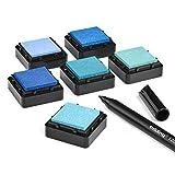 KATINGA Stempelkissen (6er Set) BLAU mit Stift für Fingerabdrücke, zum Basteln und zum kreativen Gestalten (6er BLAU)