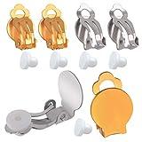 Pendiente de Clip Mujer,20 Piezas Aretes Clips Bases Pendientes Bandejs Blanco con 20 Piezas Pendientes Almohadillas,Plata y Oro
