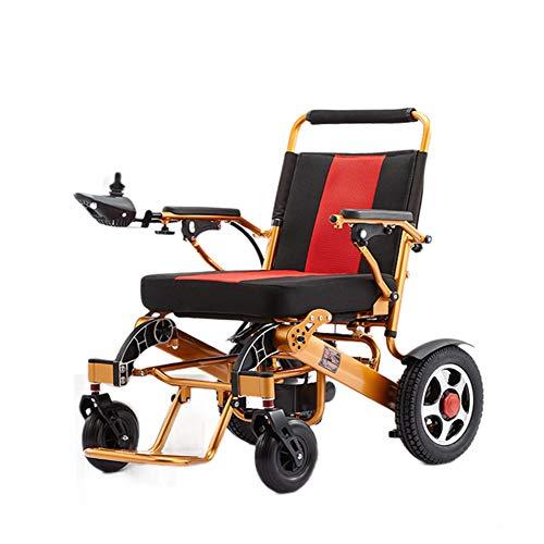 Thole Tragbarer Elektro Rollstuhl Komfortabel Und Atmungsaktiv Multifunktionsklapp Abnehmbarer Aluminiumlegierung Reise-Stuhl Ältere Behinderte Rollstuhl,Gold