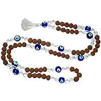 Boho Chic Rudraksha with Evil Eye Beads for Negative Energy Protection Mala