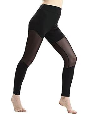 DOGZI Mujer Leggings y Medias Deportivas Yoga Color Sólido Delgado De Pantalones Labor de Retazos Malla Largos...