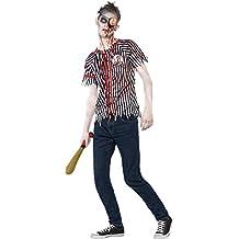 Smiffy's - Disfraz de zombi del jugador de béisbol, color negro (44334XS)