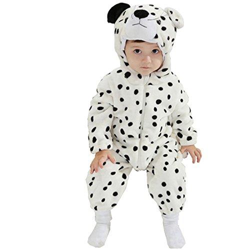 IFLIFE Bebé Kigurumi Pijamas Pelele Animal Mono para Niño Niña Infantil, Ropa de Noche con Capucha (80#(6-12meses), leopardo de nieve)