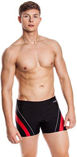AQUA-SPEED® Herren Badehose | Schwimmhose | S-XXXL | Modern | Perfect Fit | UV-Schutz | Chlor resistent | Kordelzug 02. / 16 / black red